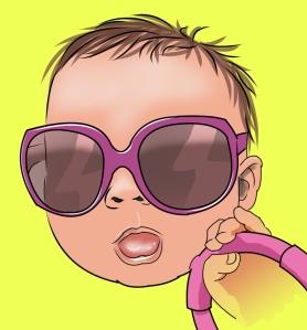dumb baby wearing shades indoors.